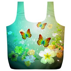 Flowers With Wonderful Butterflies Full Print Recycle Bags (L)