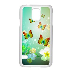 Flowers With Wonderful Butterflies Samsung Galaxy S5 Case (White)