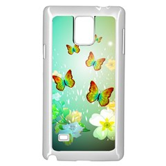 Flowers With Wonderful Butterflies Samsung Galaxy Note 4 Case (White)