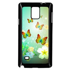 Flowers With Wonderful Butterflies Samsung Galaxy Note 4 Case (Black)