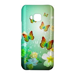 Flowers With Wonderful Butterflies HTC One M9 Hardshell Case