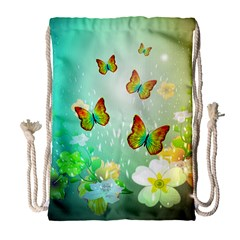 Flowers With Wonderful Butterflies Drawstring Bag (large)