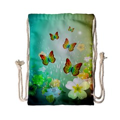 Flowers With Wonderful Butterflies Drawstring Bag (Small)