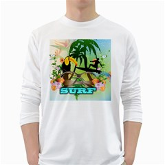 Surfing White Long Sleeve T-Shirts