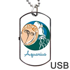 Aquarius Star Sign Dog Tag Usb Flash (two Sides)