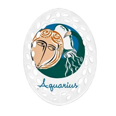 Aquarius Star Sign Oval Filigree Ornament (2 Side)