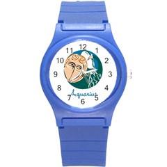 Aquarius Star Sign Round Plastic Sport Watch (S)