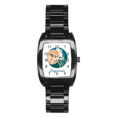 Aquarius Star Sign Stainless Steel Barrel Watch