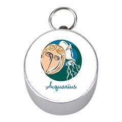 Aquarius Star Sign Mini Silver Compasses