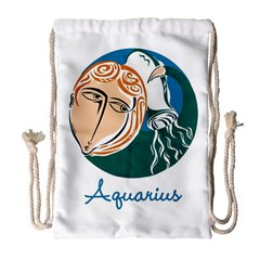 Aquarius Star Sign Drawstring Bag (Large)