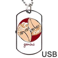 Gemini Star Sign Dog Tag USB Flash (One Side)