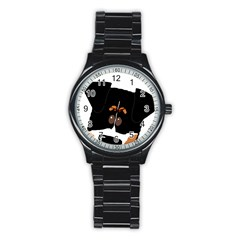 Peeping Bernese Mountain Dog Stainless Steel Round Watches