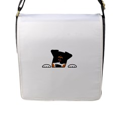 Peeping Bernese Mountain Dog Flap Messenger Bag (L)