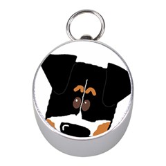 Peeping Bernese Mountain Dog Mini Silver Compasses