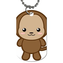 Kawaii Monkey Dog Tag (Two Sides)