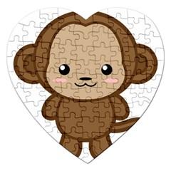 Kawaii Monkey Jigsaw Puzzle (Heart)