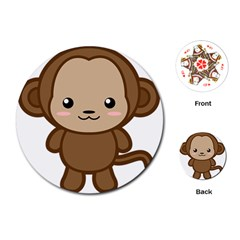 Kawaii Monkey Playing Cards (Round)