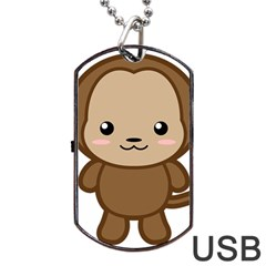 Kawaii Monkey Dog Tag USB Flash (One Side)