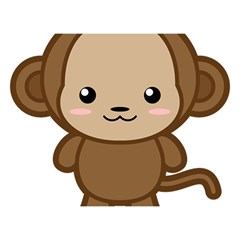 Kawaii Monkey Birthday Cake 3D Greeting Card (7x5)