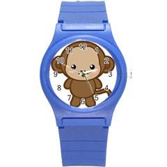 Kawaii Monkey Round Plastic Sport Watch (S)