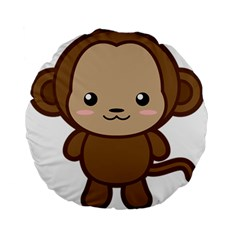 Kawaii Monkey Standard 15  Premium Round Cushions