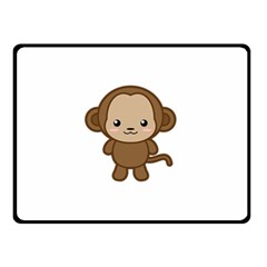 Kawaii Monkey Double Sided Fleece Blanket (Small)