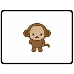 Kawaii Monkey Double Sided Fleece Blanket (large)