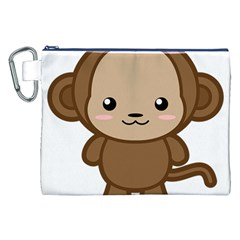 Kawaii Monkey Canvas Cosmetic Bag (XXL)
