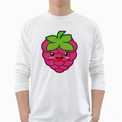 Raspberry White Long Sleeve T Shirts
