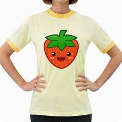 Kawaii Strawberry Women s Fitted Ringer T Shirts