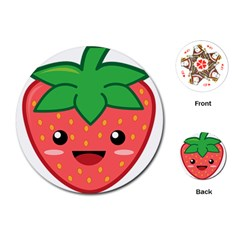 Kawaii Strawberry Playing Cards (Round)