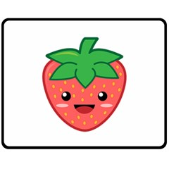 Kawaii Strawberry Fleece Blanket (Medium)