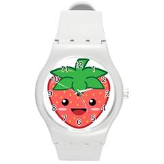 Kawaii Strawberry Round Plastic Sport Watch (M)