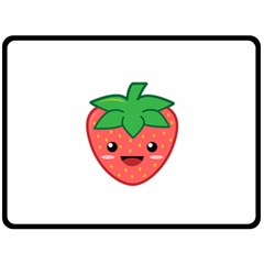 Kawaii Strawberry Double Sided Fleece Blanket (Large)