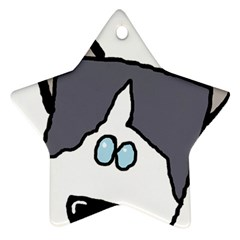 Peeping Siberian Husky Star Ornament (Two Sides)