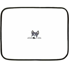 Peeping Siberian Husky Fleece Blanket (mini)