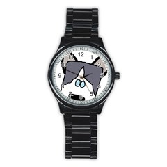 Peeping Siberian Husky Stainless Steel Round Watches