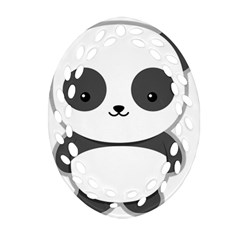 Kawaii Panda Oval Filigree Ornament (2-Side)