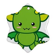 Kawaii Dragon Snowflake Ornament (2-Side)