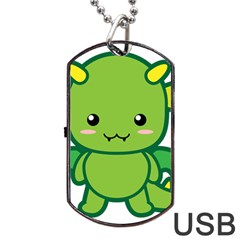 Kawaii Dragon Dog Tag USB Flash (One Side)
