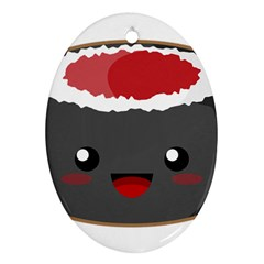 Kawaii Sushi Oval Ornament (two Sides)