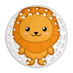 Kawaii Lion Round Filigree Ornament (2Side)