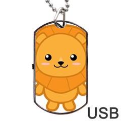 Kawaii Lion Dog Tag USB Flash (One Side)