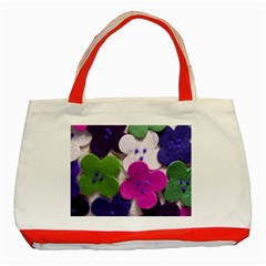 Cotton Flower Buttons  Classic Tote Bag (red)
