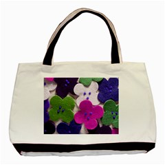 Cotton Flower Buttons  Basic Tote Bag (two Sides)