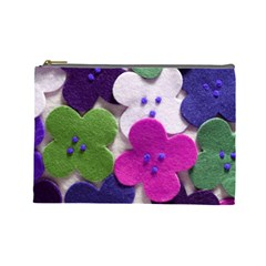 Cotton Flower Buttons  Cosmetic Bag (large)