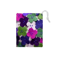 Cotton Flower Buttons  Drawstring Pouches (Small)