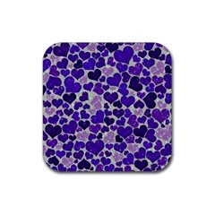 Sparkling Hearts Blue Rubber Square Coaster (4 pack)