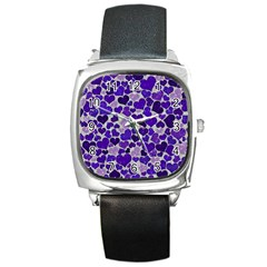 Sparkling Hearts Blue Square Metal Watches