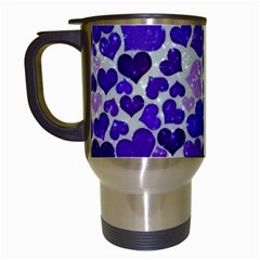 Sparkling Hearts Blue Travel Mugs (white)